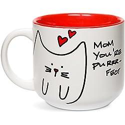 "Pavilion Gift Company - Taza de desayuno, diseño de gato con texto en inglés""Blobby Cat, Funny Cat Mom You're Purrrrr-Fect"", color rojo"