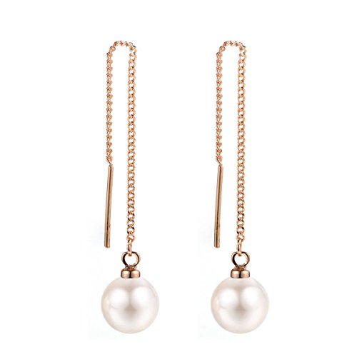 Women's Circle Shell Pearls Threader Long Drop Dangle Earrings Tassel Ear Line Eardrop Piercing Jewelry Hypoallergenic (Rose gold-white pearl)