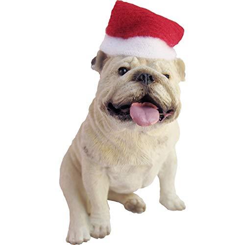 Sandicast White Bulldog with Santa Hat Christmas Ornament (XSO02207)