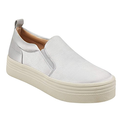 Satin Elise6 Marc Fisher Gray Slip Fashion Top Womens Low Fabric Sneakers on qOAnPO6Ex