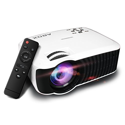 2018 Model ABOX 2000 Lumens LCD Video Projector, GooBang Doo Multimedia Home Theater Video Projector Support 1080p HDMI USB SD Card VGA AV for Home Cinema TV - White