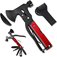 Multitool Axe Camping Tool, 19-in-1 Camping Gear Survival Multitool , Stainless Steel Screwdriver Hatchet Hamm