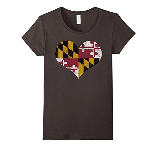 Womens Vintage Heart Flag Of Maryland T Shirt Medium Asphalt