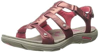 Merrell Women's Adhera Strap Sandal, Cranberry, 5 M US