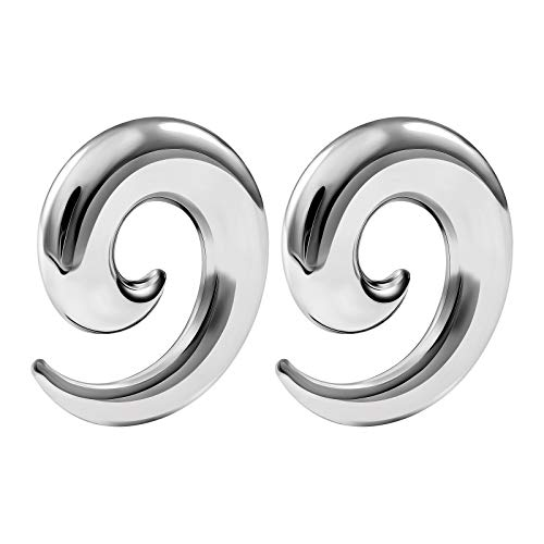 - BIG GAUGES Pair of Surgical Steel 00g Gauge 10mm Taper Spiral Expander Hollow Piercing Jewelry Stretching Earring Ear Plugs BG2779
