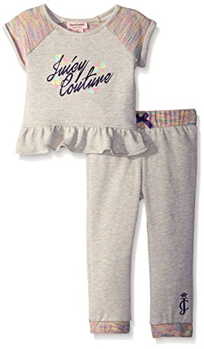 Juicy Couture  Girls' Marled Rainbow  French Terry Gray Pant Set, Gray, 4T
