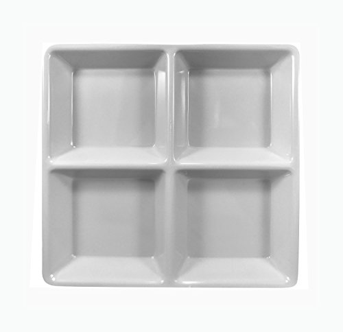 Clever Home White Melamine 4 Section Serving Appetizer Tray 8.5 x 8.5 inches - Set of 2