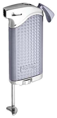 - Vector Maximus 45 Soft Flame Pipe Lighter w/Tamper Tool (Chrome Satin)