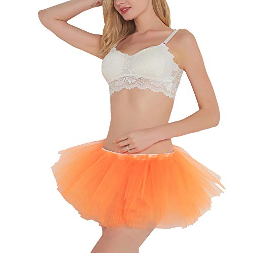 (BUENOS NINOS Sexy Women Tutu Boutique Ballerina Skirt (Orange))