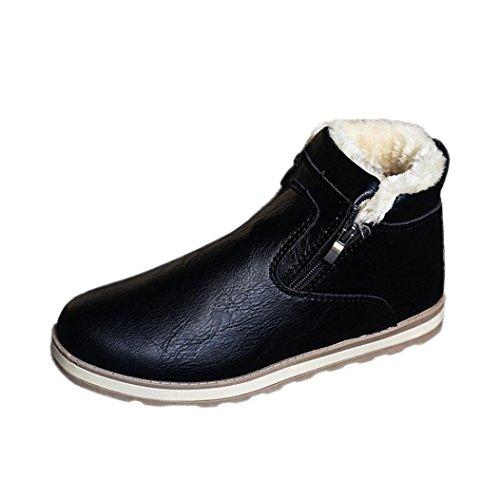 Scarpe Stivali Nero Caviglia Peluche Neve da Uomo BYSTE Tagliare Antiscivolo Stivaletti Stivali Invernali Piatto Caviglia qC0w1R5