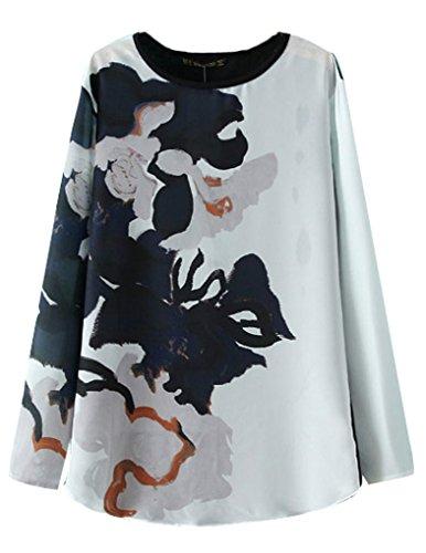 JOLLYCHIC Women's Print Long Sleeve Round Neck Chiffon Shirt Blouse Size 4 US Black&White