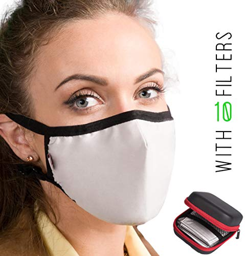 Dust Proof Anti Pollution Face Mask - Protects Against Air Pollution Dust Smoke Allergy Ash Pollen Bacteria. Adjustable Face Masks with 10 N99 Filters