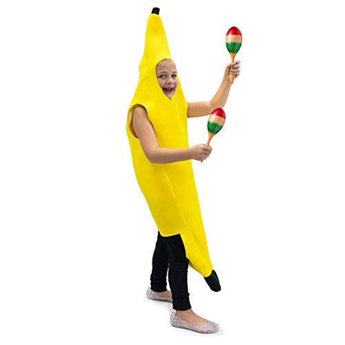 Kid Banana Costume - Cabana Banana Children's Halloween Dress Up Theme Party Roleplay & Cosplay Costume, Unisex (S, M, L, XL) (Youth Medium (5-6))