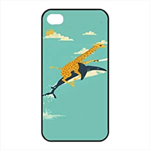 Giraffe Ride a Shark with Sword Unique Apple Iphone 4 4S Durable Hard Plastic Case Cover CustomDIY