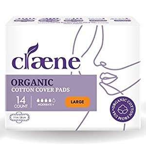 Claene Natural Unscented Organic Cotton Pads for Women with Wings, Large (Set of 14)