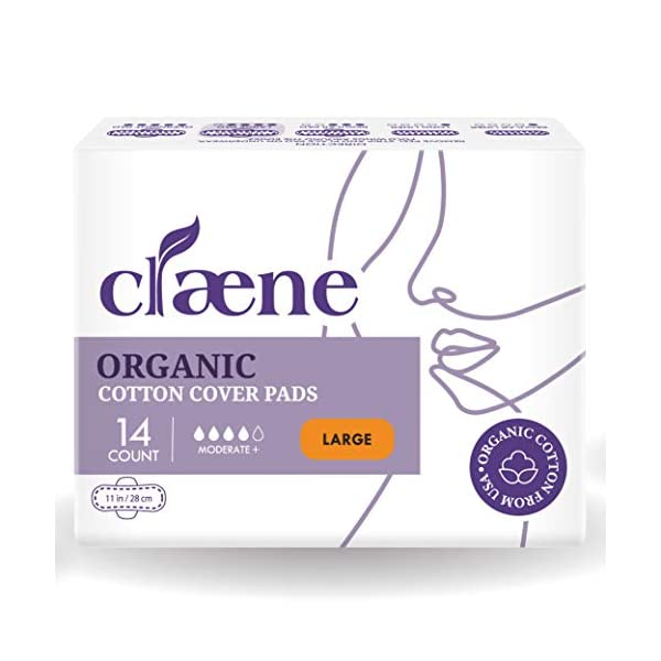 Claene Organic Cotton Cover Pads, Cruelty-Free, Menstrual Large Pads for Women, Unscented, Breathable, Vegan, Natural…
