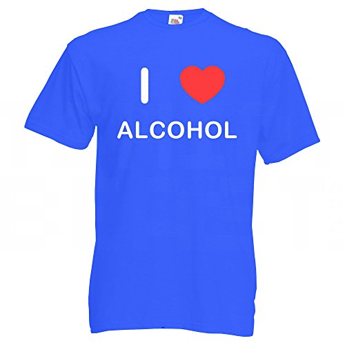 I Love Alcohol - Großes Blaues T-Shirt