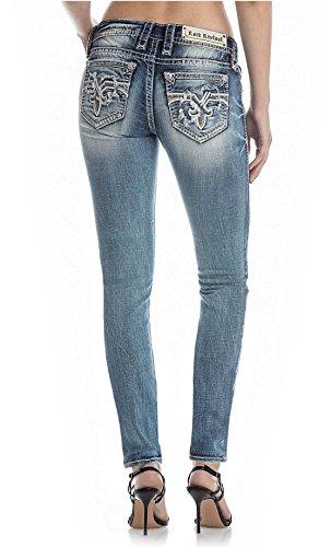 Rock Revival Nanna S202 Medium Wash Skinny Cut Jeans Reversed Fluer De Lis