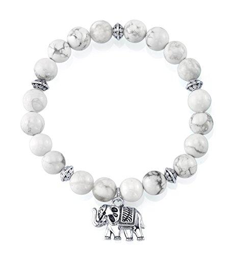 SERAFINA Womens Bead Stretch Bracelet with Sterling Silver Charm (howlite) (Elephant White Bracelet)