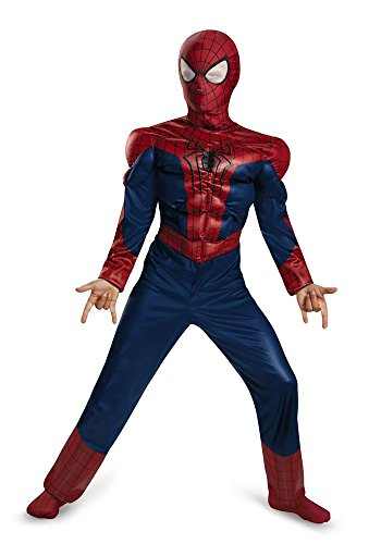 [Boys Child The Amazing Spider Man 2 Halloween Muscle Chest Costume Size M 8] (Muscle Chest Spiderman Costumes)