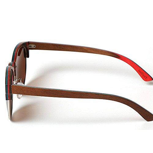 hommes de protection lunettes les lunettes soleil soleil main plage lunettes lunettes soleil Coloré la bois lunettes de semi de Rimless en yeux en soleil bambou chat de soleil Marron de à UV conduite pour B8p1wTqz