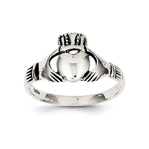 Sterling Silver Antiqued Claddagh Ring Size 6 (Silver Antiqued Sterling Ring Claddagh)