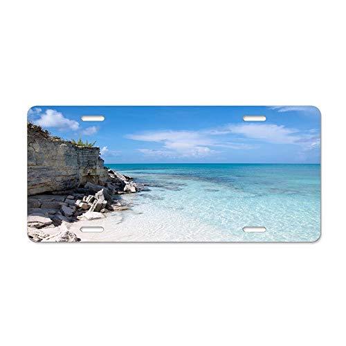 Blingreddiamond Beach Shore Rock Slabs Blocks Stones Blue Water Sky Horizon Personalized Front License Plates Aluminum Car Plate Patriotic Decorative Car Tag Sign Metal Auto Tag 4 Holes 12 x 6 Inch