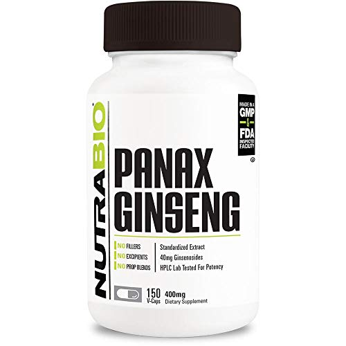 NutraBio Panax Ginseng – Herbal Supplement, Root Extract – 400mg Capsules