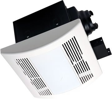 (AirZone Fans PA900VLE Premium Ultra Quiet Exhaust Ventilation Fan with 18W Fluorescent Lamps and Electronic Ballast, AC Motor, 0.7 Sones, 90 CFM)