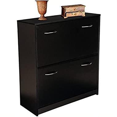 Black Finish Double Shoe Cabinet w Tilt-Down Doors