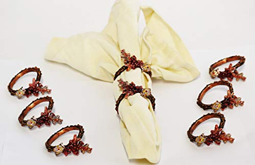 - Ciel Collectables Set of 8 pc Napkin Rings. Hand Crafted in Coral Design with Sea Shell with Swarovski Crystals & Enamel