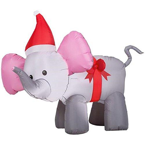 Christmas Elephant - Trim A Home 4' Airblown Elephant with Bow Christmas Inflatable