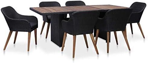 vidaXL Set da pranzo da giardino, 7 pezzi e cuscini, per esterni, cucina, terrazza, tavolo, sedia morbida con schienale in rattan sintetico, colore: nero