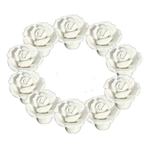 Door Floral Case - 10PCS White Ceramic Vintage Floral Rose Door Knobs Handle Drawer Kitchen + Screw by YUYIKES (White)