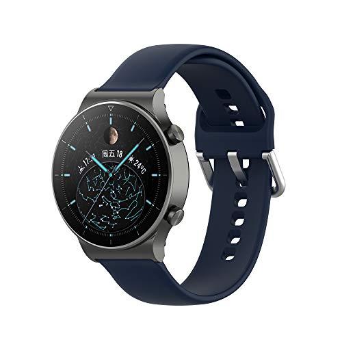 Yikamosi Compatibel met Huawei Watch GT2 Pro Bandje,22MM Snelle release Zachte Siliconen Roestvrij stalen sluiting…