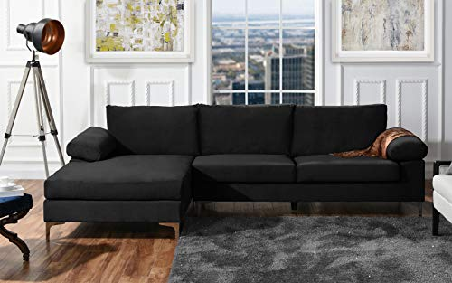 DIVANO ROMA FURNITURE Modern Large Velvet Fabric Sectional, used for sale  Delivered anywhere in USA