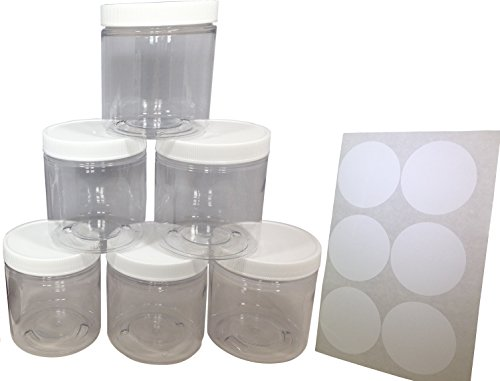 Gesso 8 Oz Jar (8oz Plastic Slime Containers and Lids - Storage Jars (6 Pack) + Sealable Lids + White Labels)