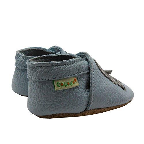 Sayoyo Suaves Zapatos De Cuero Del Bebé Zapatillas Elefante Azul