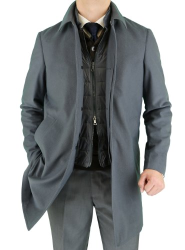 Luciano Natazzi Men's Fitted Walker Coat (48 US - 58 EU, Gray) (Single Suit Breasted Worsted Wool)