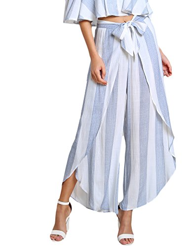 Floerns Women's Tie Front High Waisted Striped Wide Leg Flowy Palazzo Pants L