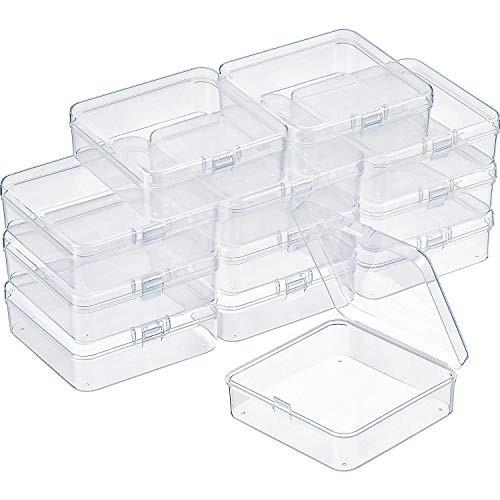 SATINIOR 12 Pack Clear Plastic Beads Storage Containers Box with Hinged Lid for Beads and More (3.3 x 3.3 x 1.2 -