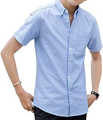 XXGCamisas de manga corta para hombre Camisa de manga corta Oxford ...