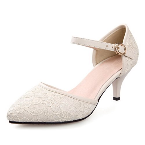 VogueZone009 Womens Closed Pointed Toe Kitten Heel Blend Materials Frosted Solid Pumps with Buckle, Beige, 4.5 UK