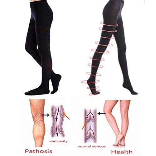 (MarshLing Compression Pantyhose Firm Support Pantyhose Burn Fat Super Thin Sleeping Overnight Compression Stocking Perfect Quality Black M )