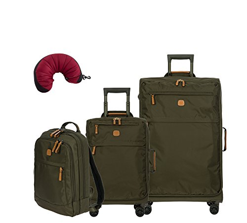Bric's X-Travel 4 Piece Set | 21'', 25'', Metro Backpack, Travel Pillow (Olive) by Bric's (Image #8)