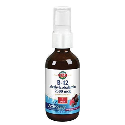 KAL B-12 Methylcobalamin ActivSpray 2500 mcg | Natural Berry Flavor | Healthy Metabolism, Energy, Nerve & Red Blood Cell Support | 2 oz | 80 Servings