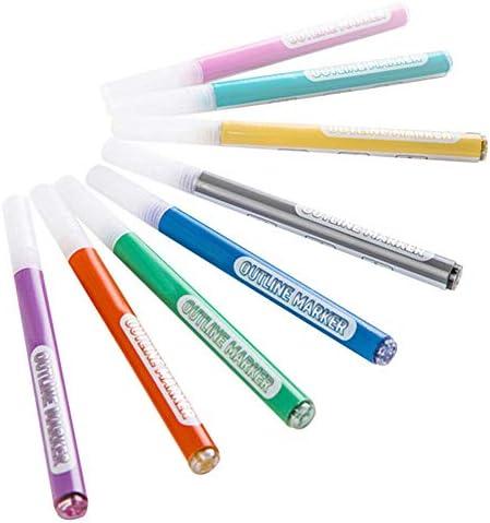 Venus valink 8 Kleur Dubbele Lijn Outline Pen Marker Pen voor Tekenen Schilderen Scrap Book Card DIY Dagboek