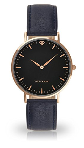 YVES CAMANI Amelie Women's Wrist Watch Quartz Analog Dark Blue Leather Strap Black Dial YC1097-C-750