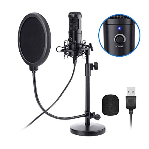 (USB Microphone Kit, NASUM 192KHZ/24BIT Plug & Play USB Computer Cardioid Microphone Podcast Condenser Microphone with Stand for PC Singing, Podcasting, Streaming, Game, Recording, Voiceover)