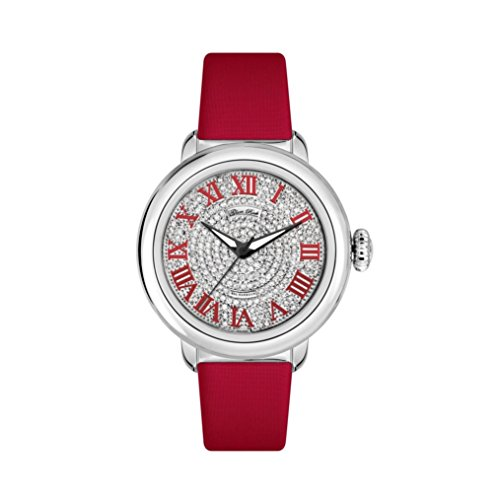 Glam Rock Women's Bal Harbour 40mm Red Satin Band Steel Case Swiss Quartz Silver-Tone Dial Watch GR77034